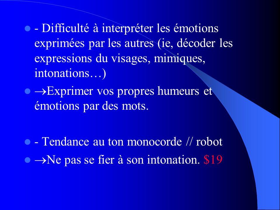 - Difficulté à interpréter les émotions exprimées par les autres (ie, décoder les expressions du visages, mimiques, intonations…)