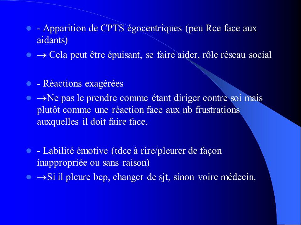- Apparition de CPTS égocentriques (peu Rce face aux aidants)