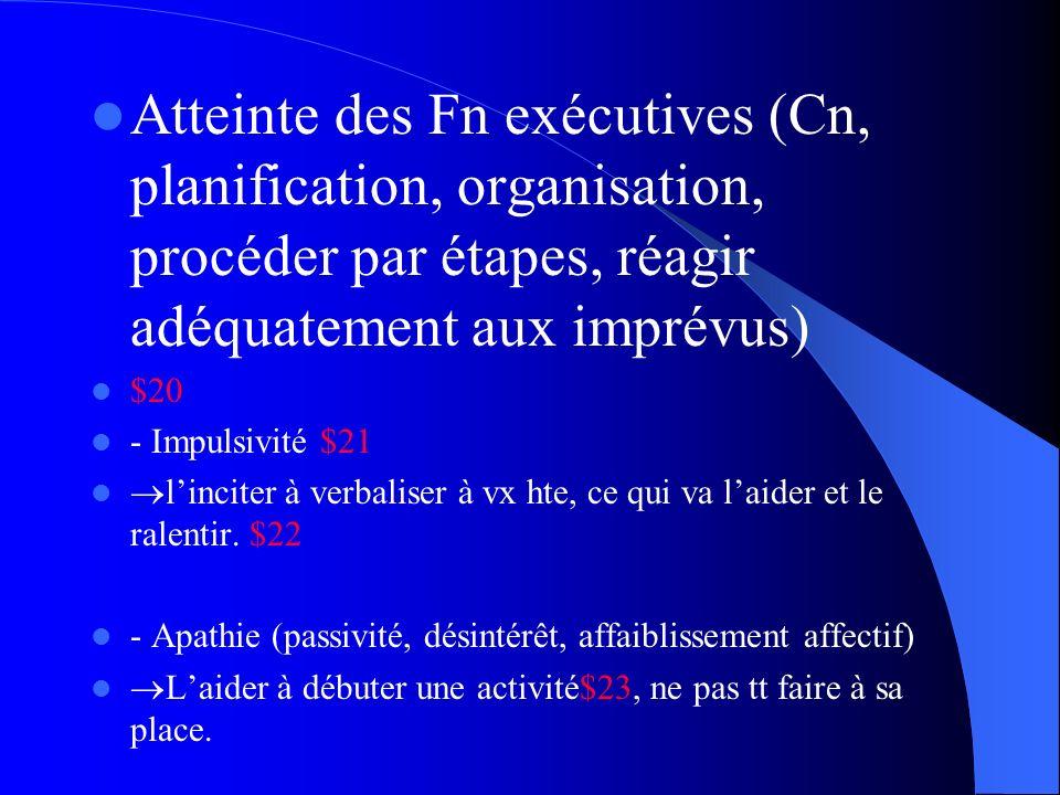 Atteinte des Fn exécutives (Cn, planification, organisation, procéder par étapes, réagir adéquatement aux imprévus)