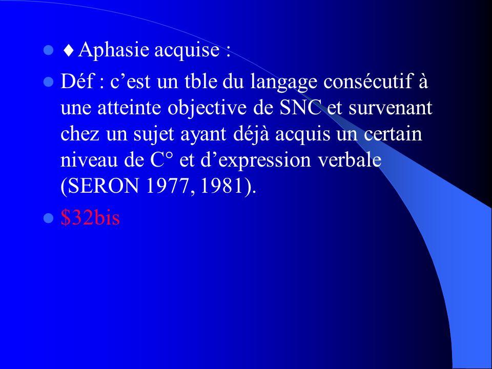 Aphasie acquise :