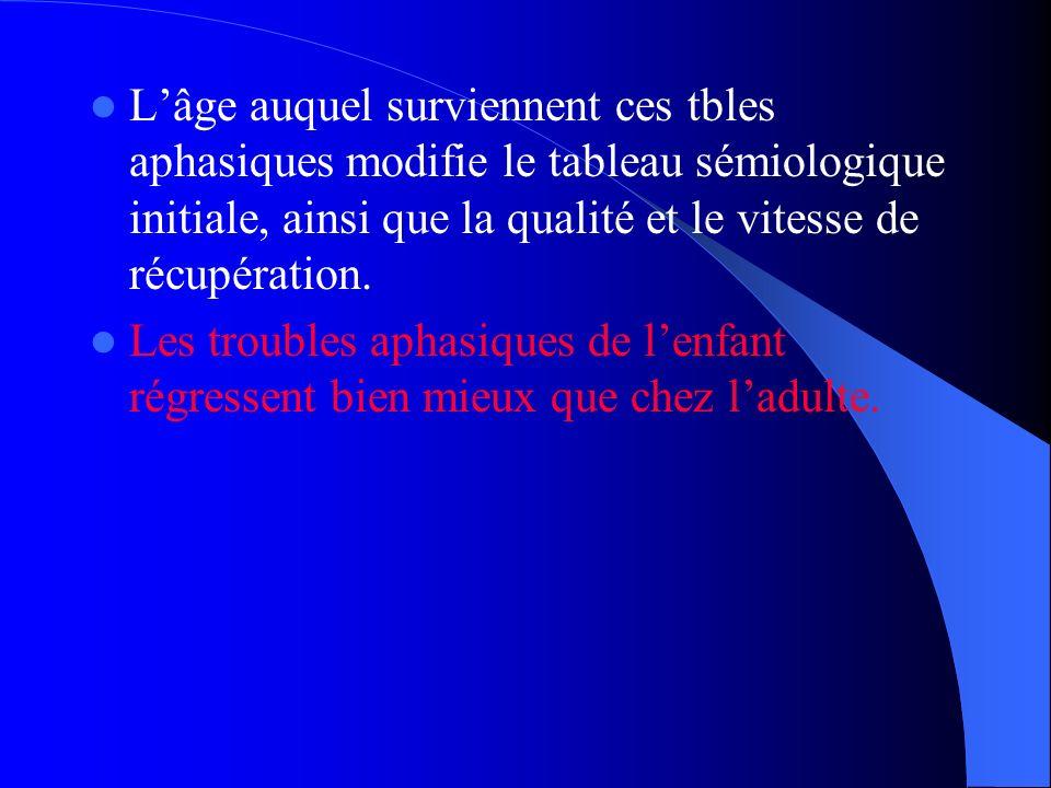 L'âge auquel surviennent ces tbles aphasiques modifie le tableau sémiologique initiale, ainsi que la qualité et le vitesse de récupération.