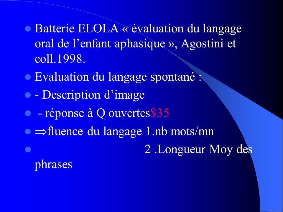 Batterie ELOLA « évaluation du langage oral de l'enfant aphasique », Agostini et coll.1998.