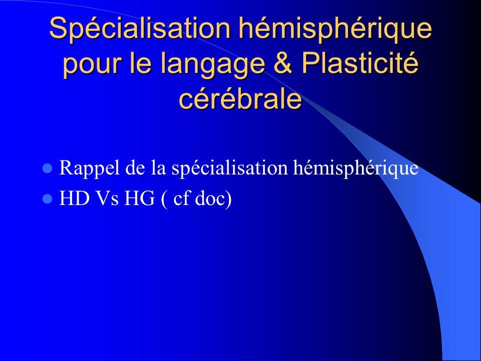 Spécialisation hémisphérique pour le langage & Plasticité cérébrale