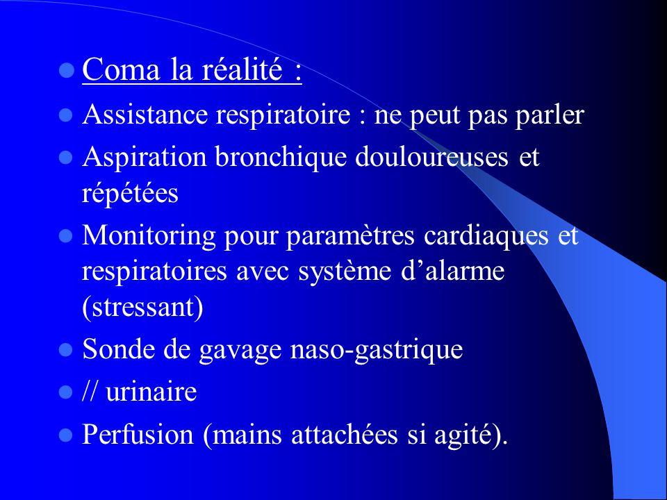 Coma la réalité : Assistance respiratoire : ne peut pas parler