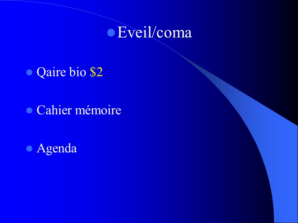 Eveil/coma Qaire bio $2 Cahier mémoire Agenda