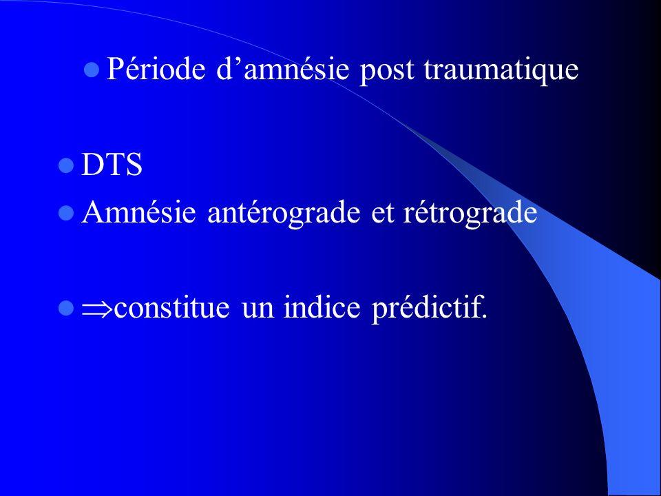 Période d'amnésie post traumatique