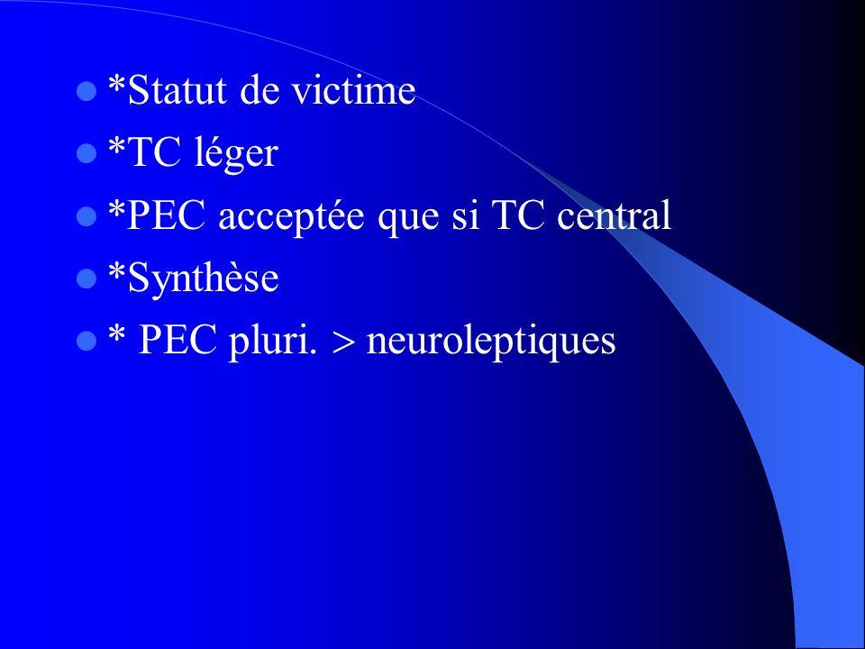 *Statut de victime*TC léger.*PEC acceptée que si TC central.
