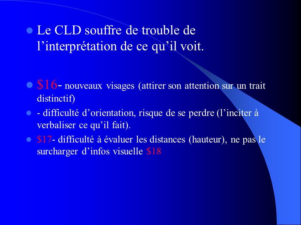 Le CLD souffre de trouble de l'interprétation de ce qu'il voit.