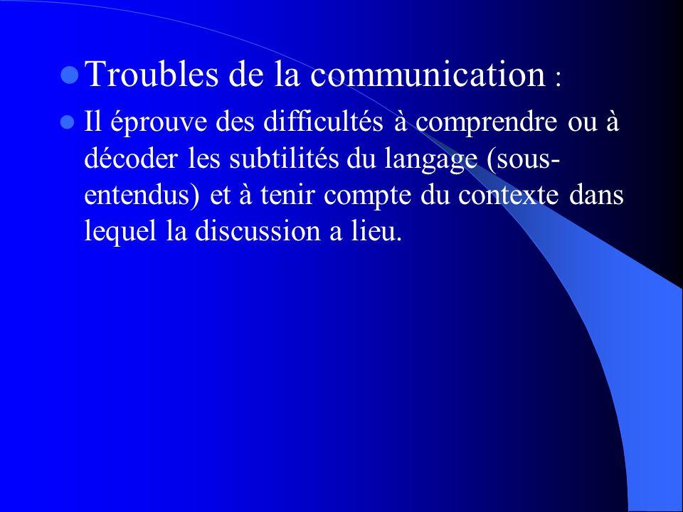 Troubles de la communication :