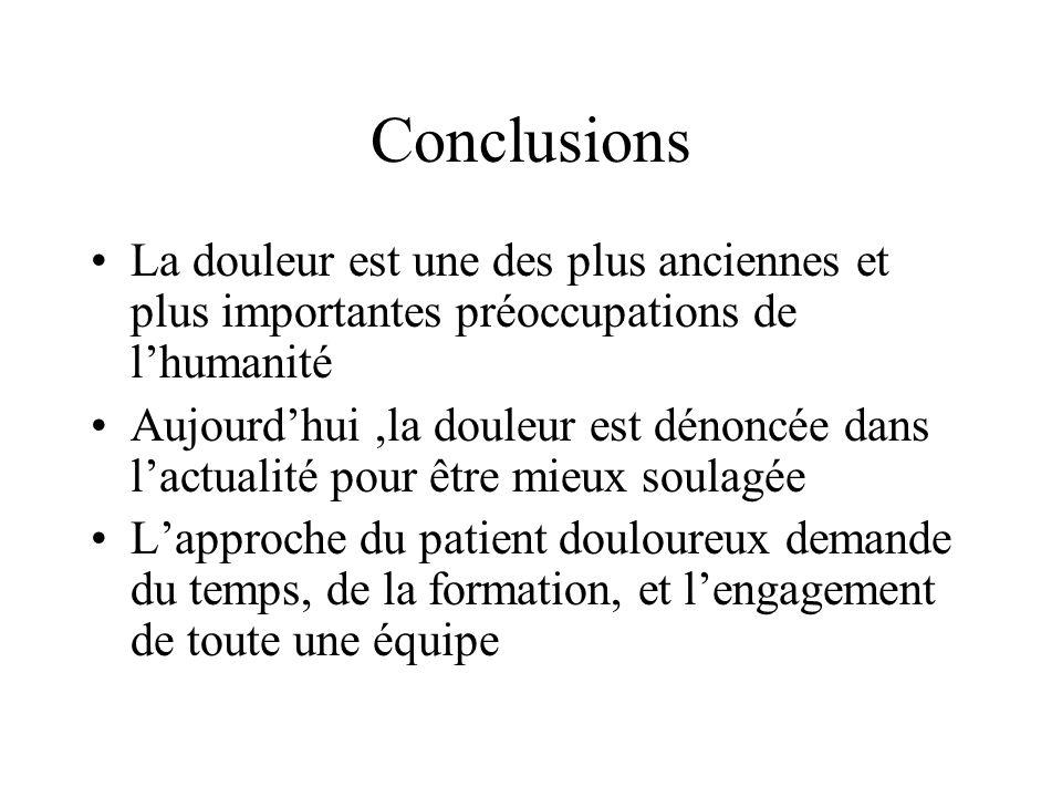 Conclusions La douleur est une des plus anciennes et plus importantes préoccupations de l'humanité.