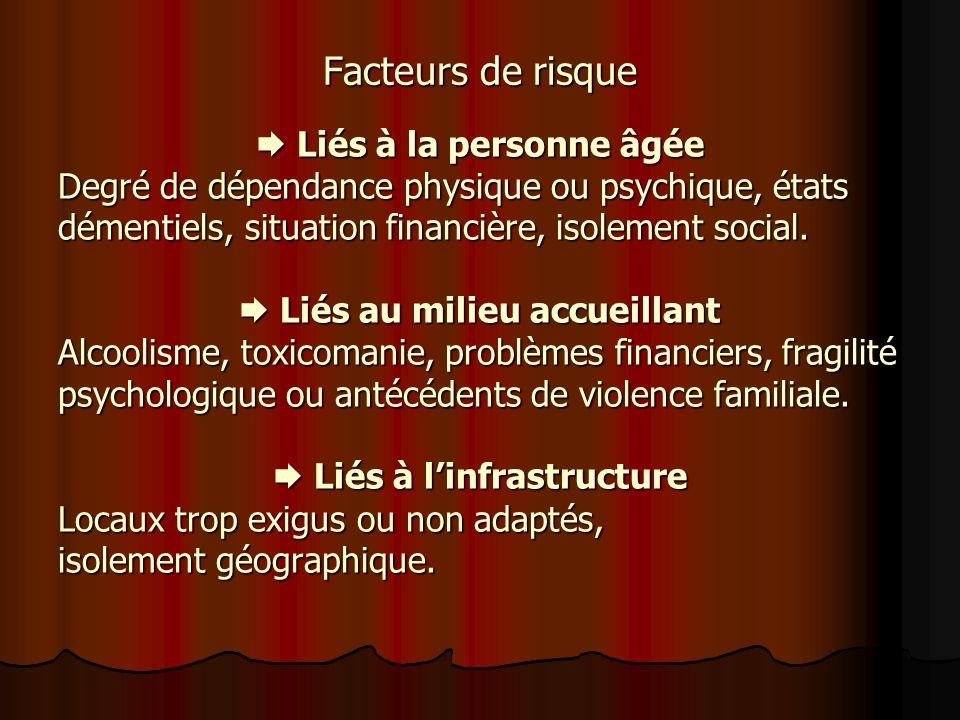 Facteurs de risque  Liés à la personne âgée