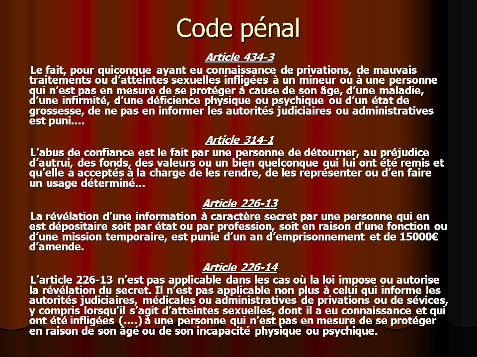 Code pénalArticle 434-3.