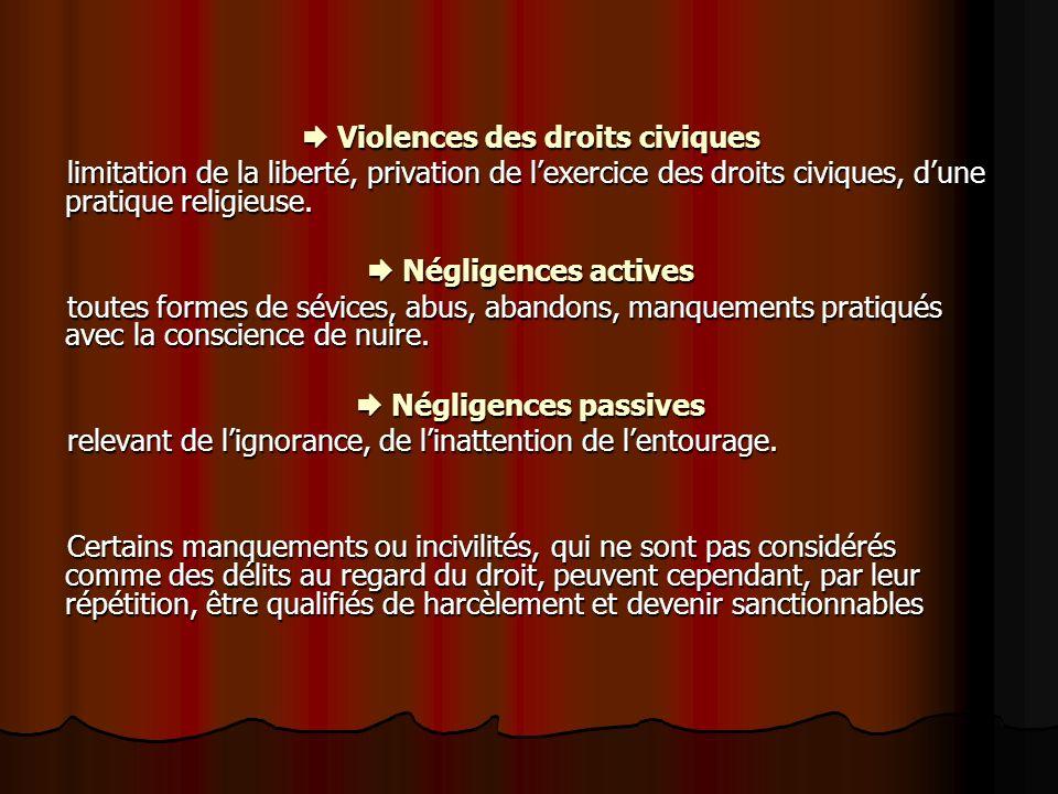  Violences des droits civiques  Négligences passives