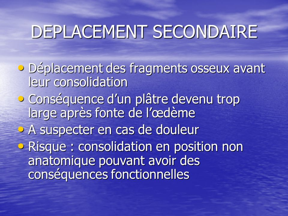 DEPLACEMENT SECONDAIRE