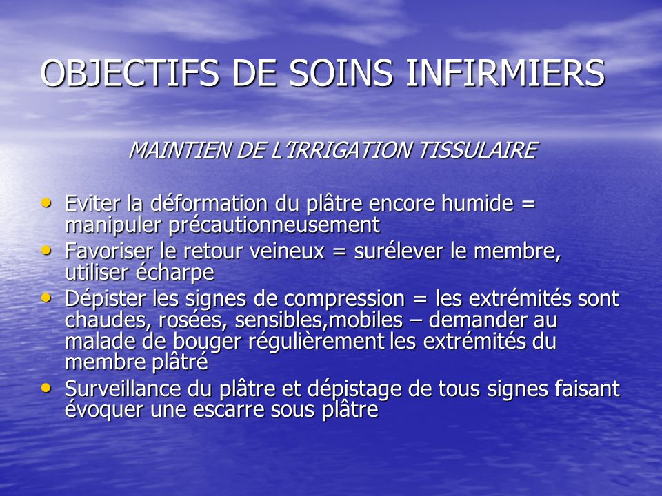 OBJECTIFS DE SOINS INFIRMIERS
