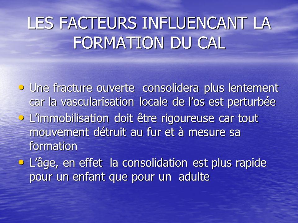 LES FACTEURS INFLUENCANT LA FORMATION DU CAL