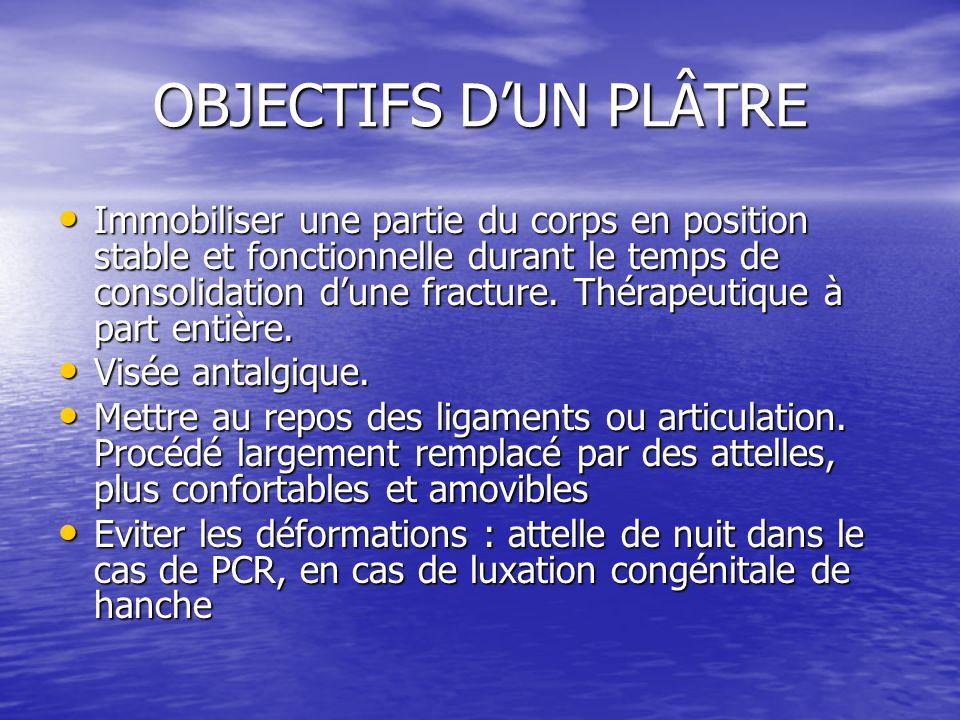 OBJECTIFS D'UN PLÂTRE