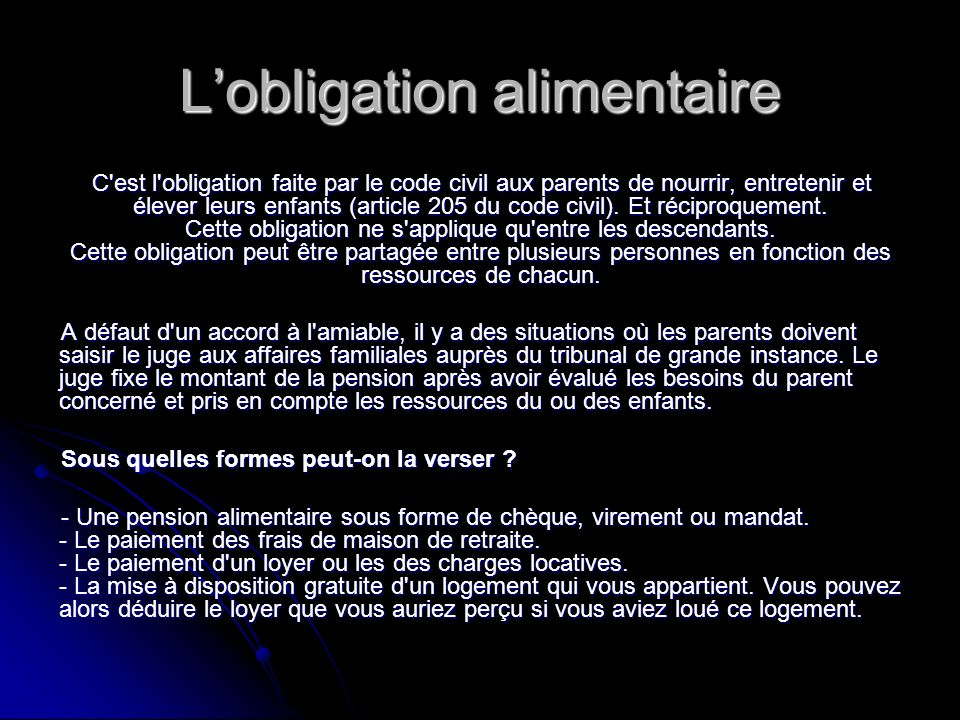L'obligation alimentaire