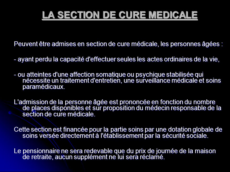 LA SECTION DE CURE MEDICALE