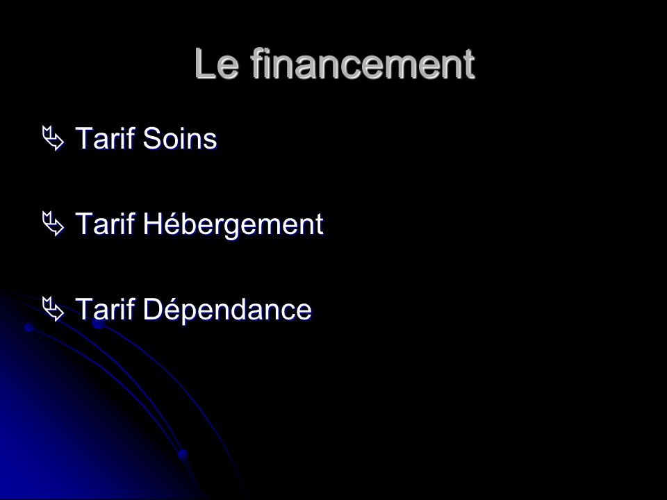 Le financement  Tarif Soins  Tarif Hébergement  Tarif Dépendance
