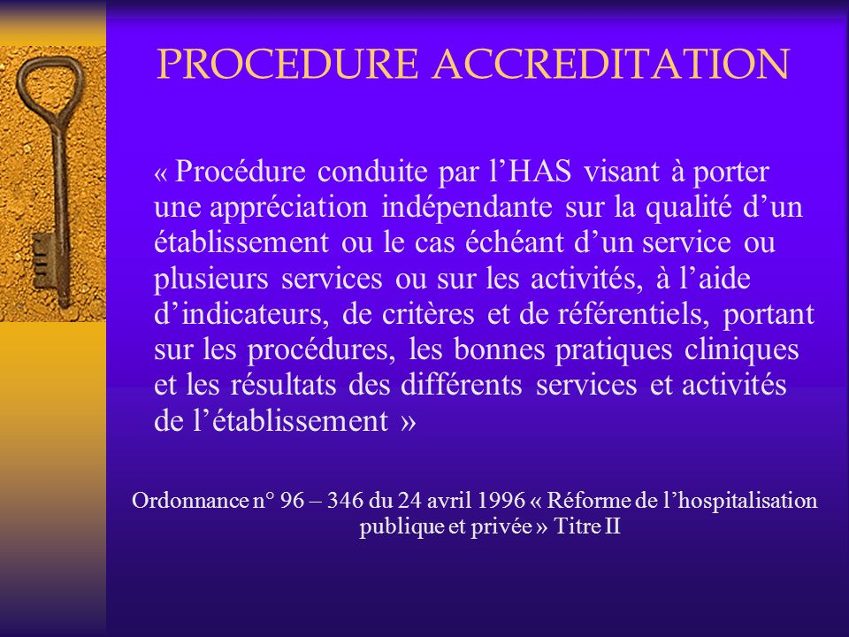 PROCEDURE ACCREDITATION