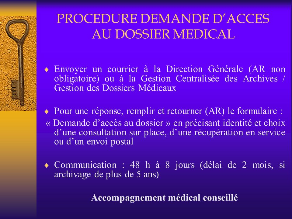 PROCEDURE DEMANDE D'ACCES AU DOSSIER MEDICAL