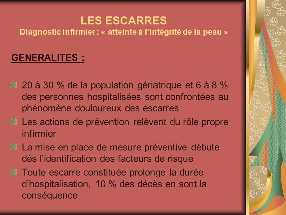 LES ESCARRES Diagnostic infirmier : « atteinte à l'intégrité de la peau »