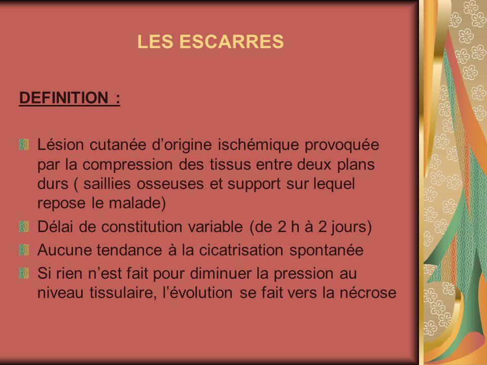 LES ESCARRES DEFINITION :