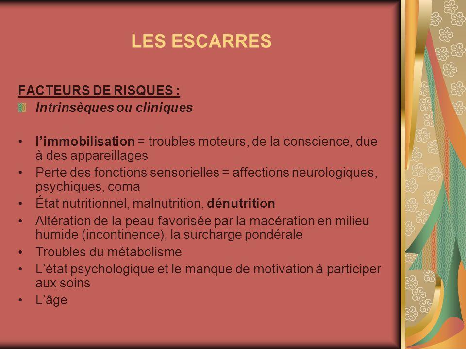 LES ESCARRES FACTEURS DE RISQUES : Intrinsèques ou cliniques