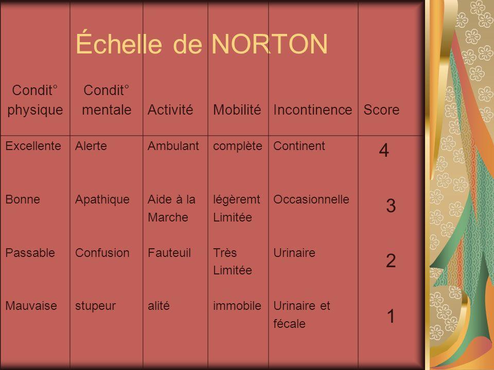 Échelle de NORTON 4 3 2 1 Condit° physique mentale Activité Mobilité