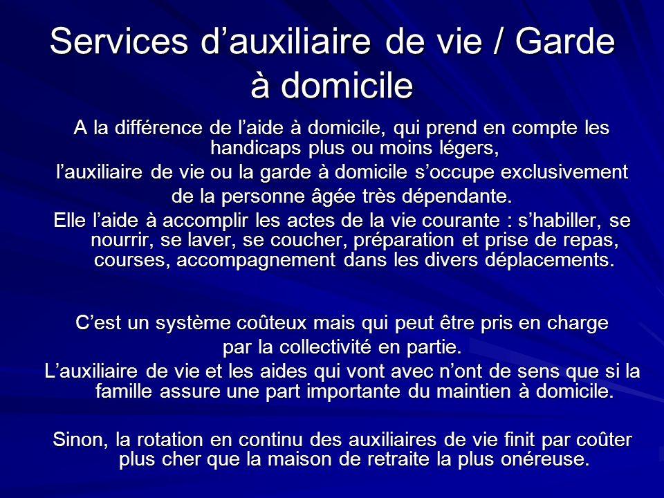 Services d'auxiliaire de vie / Garde à domicile