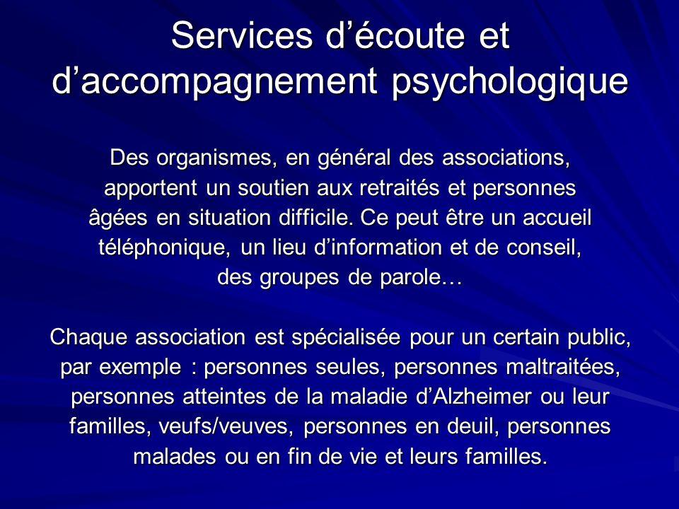 Services d'écoute et d'accompagnement psychologique
