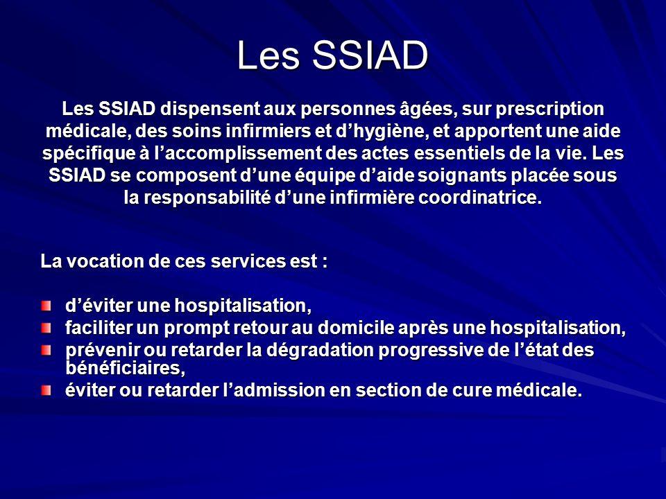 Les SSIAD Les SSIAD dispensent aux personnes âgées, sur prescription
