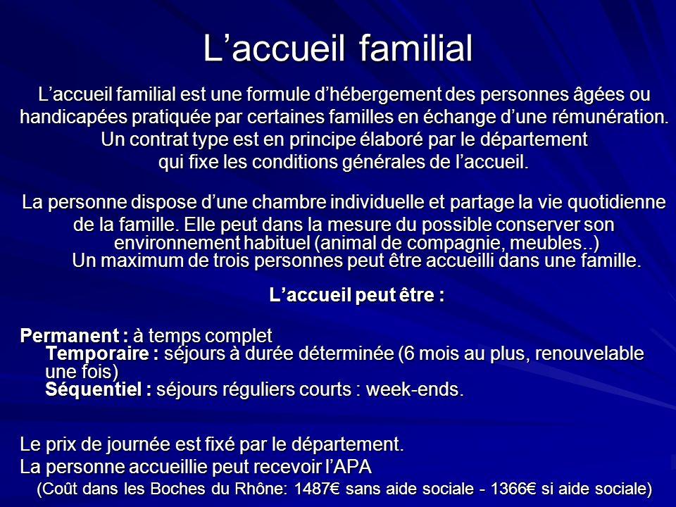 L'accueil familial L'accueil familial est une formule d'hébergement des personnes âgées ou.