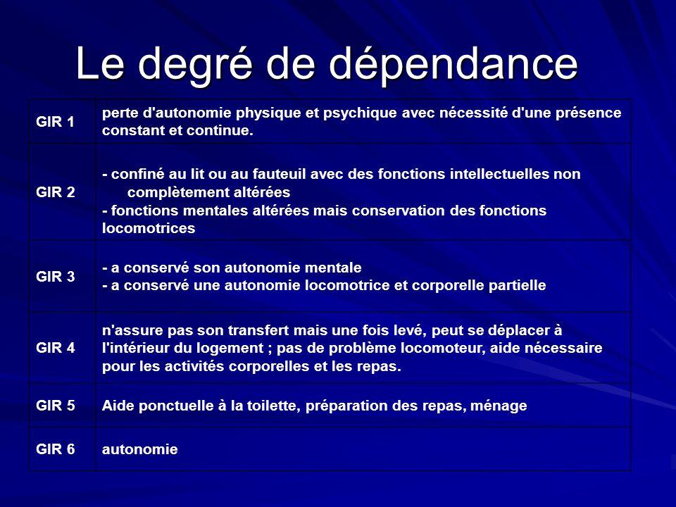 Le degré de dépendance GIR 1