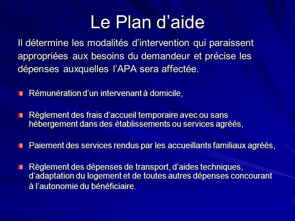 Le Plan d'aideIl détermine les modalités d'intervention qui paraissent. appropriées aux besoins du demandeur et précise les.