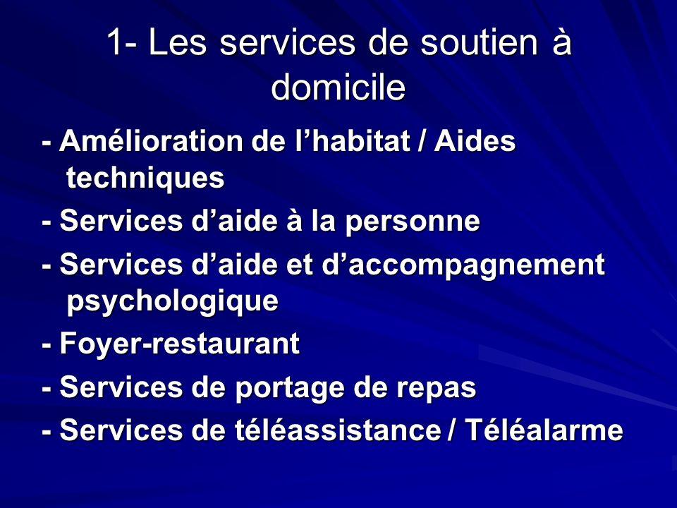 1- Les services de soutien à domicile