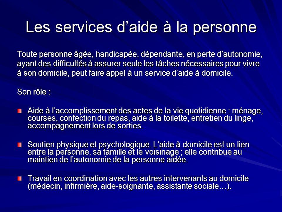 Les services d'aide à la personne