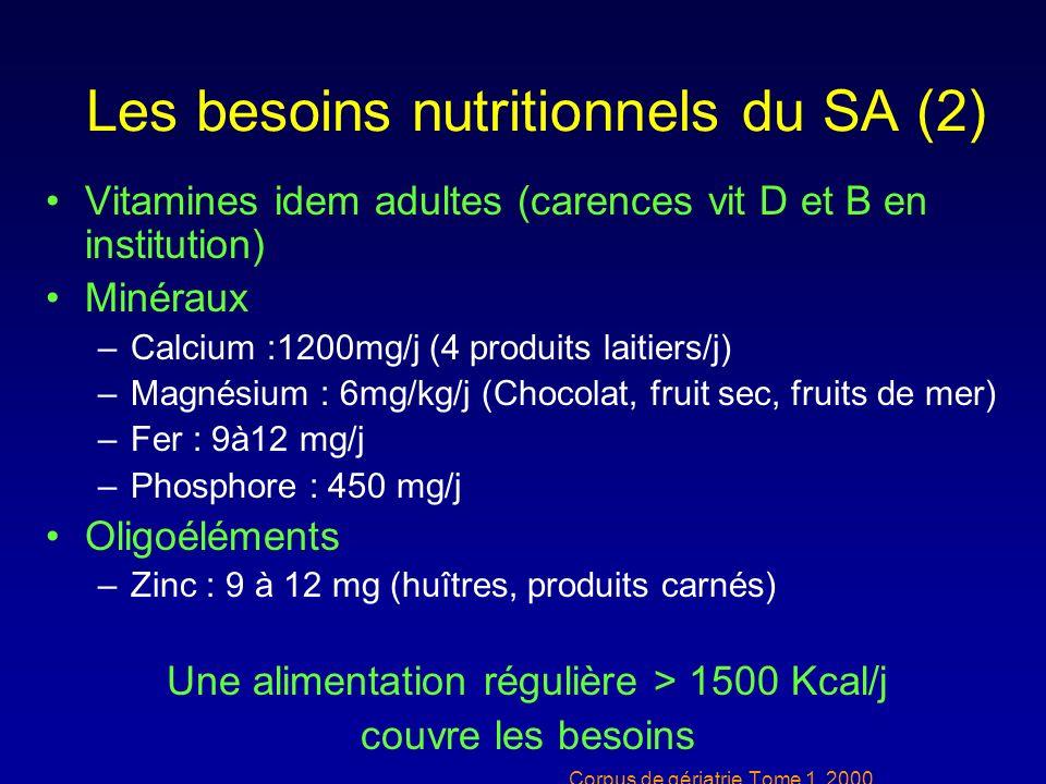 Les besoins nutritionnels du SA (2)