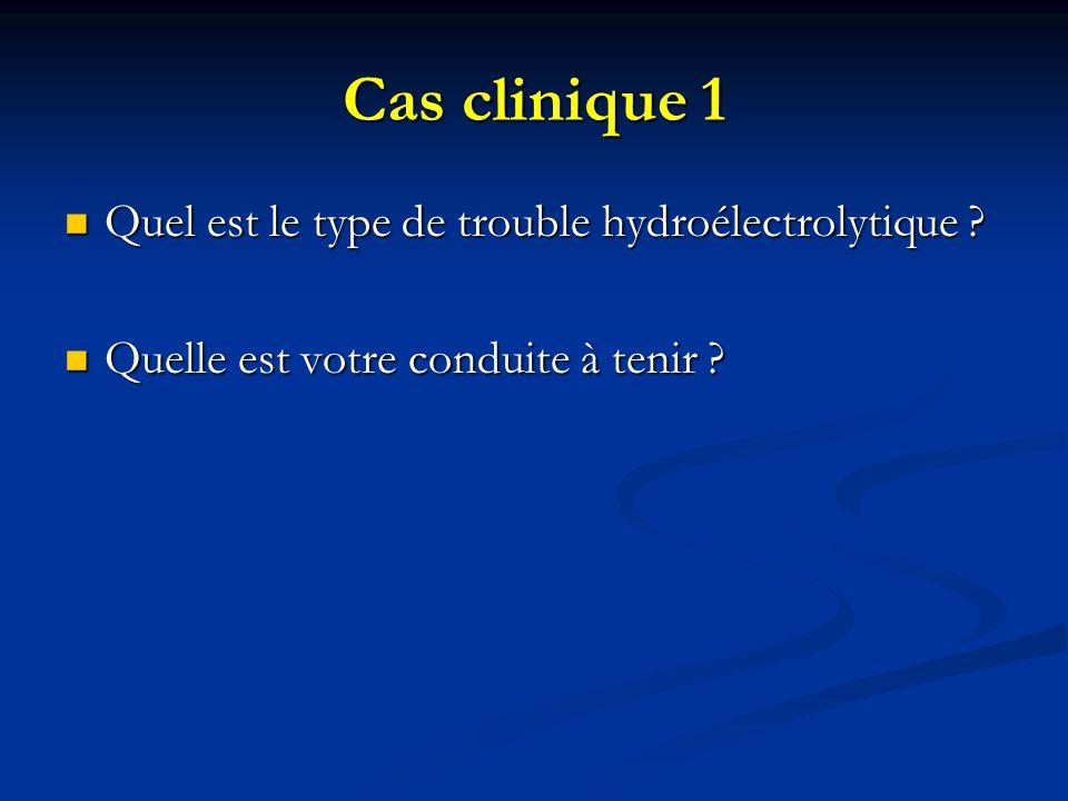 Cas clinique 1 Quel est le type de trouble hydroélectrolytique