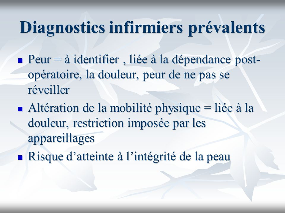 Diagnostics infirmiers prévalents