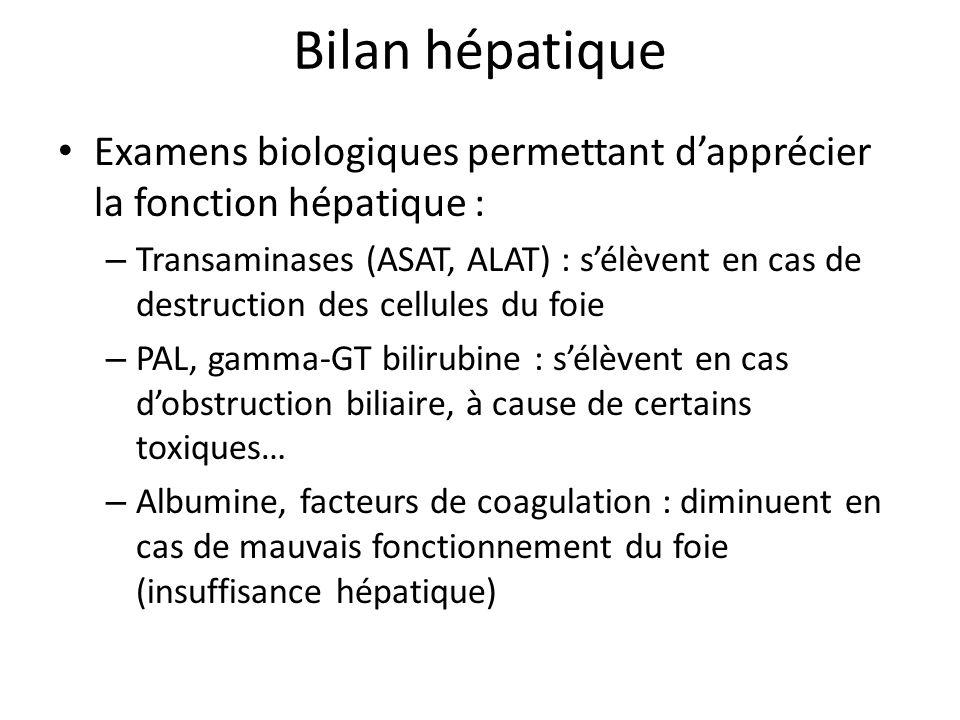 Bilan hépatique Examens biologiques permettant d'apprécier la fonction hépatique :