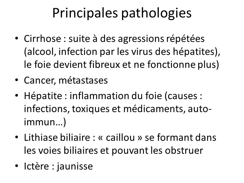 Principales pathologies