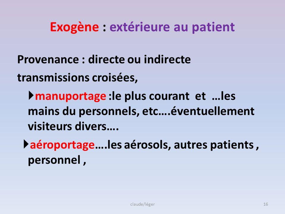 Exogène : extérieure au patient