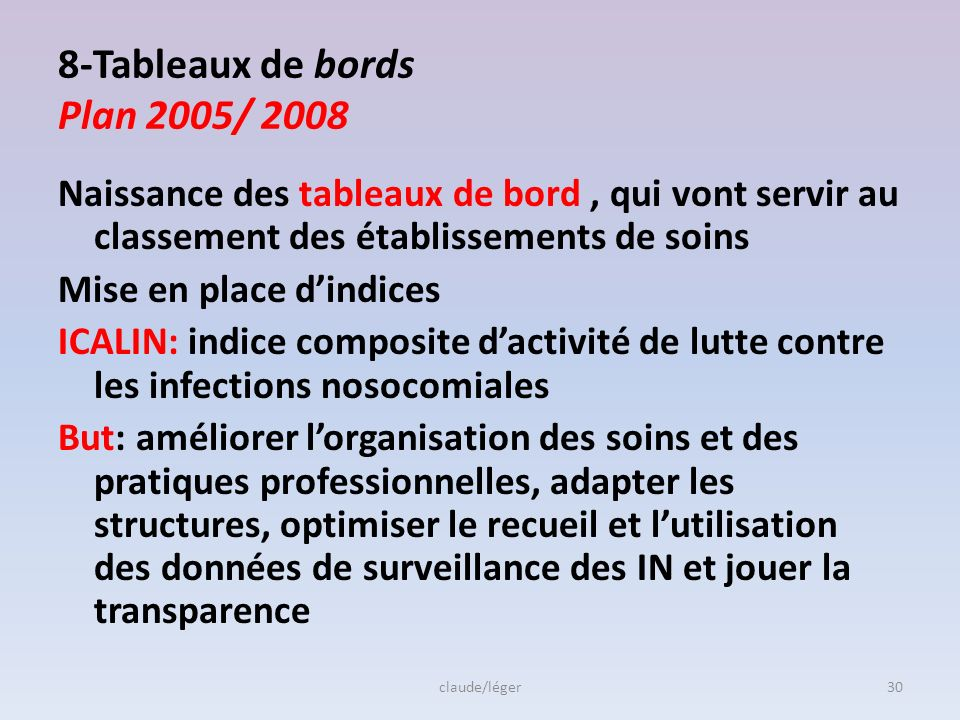 8-Tableaux de bords Plan 2005/ 2008