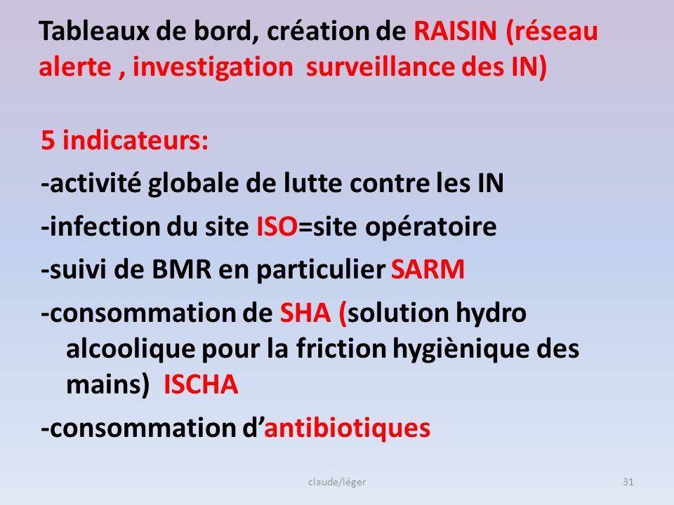 Tableaux de bord, création de RAISIN (réseau alerte , investigation surveillance des IN)