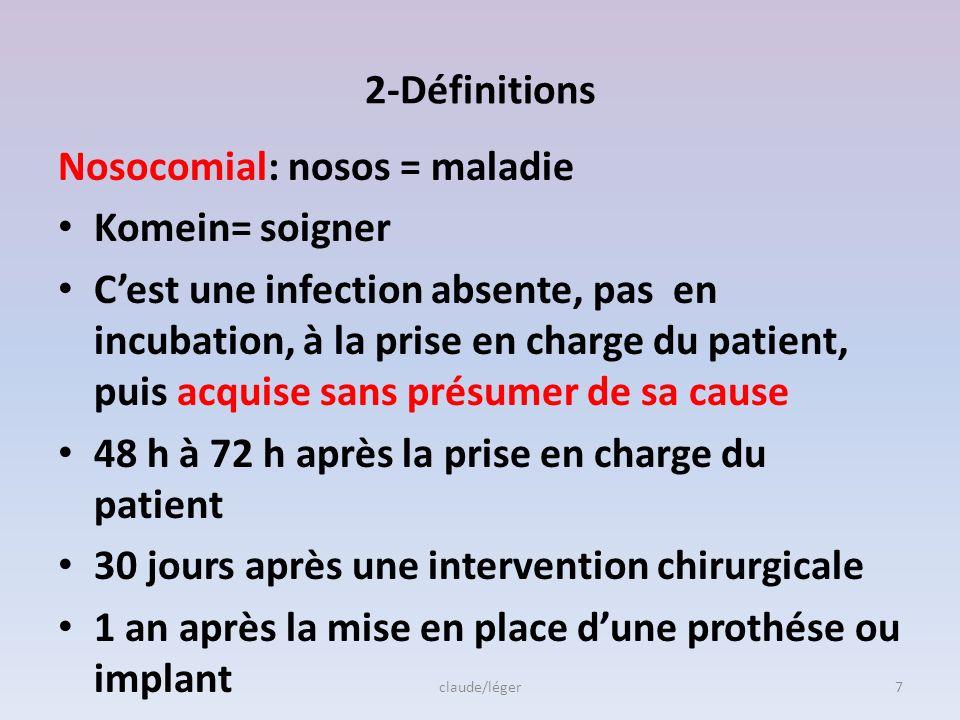 Nosocomial: nosos = maladie Komein= soigner