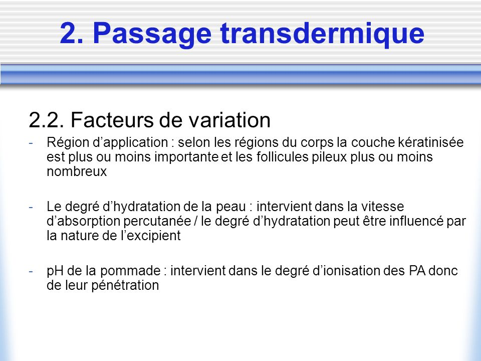 2. Passage transdermique