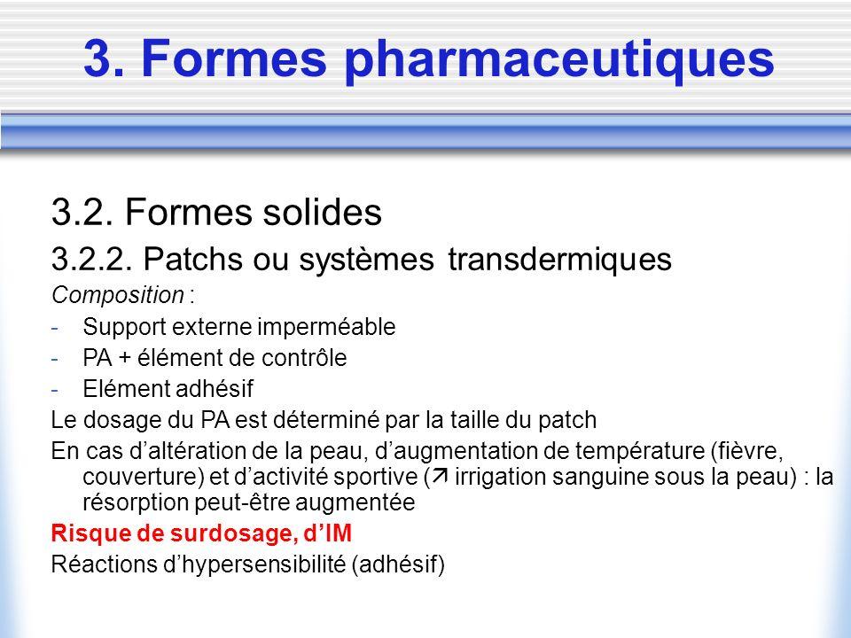 3. Formes pharmaceutiques