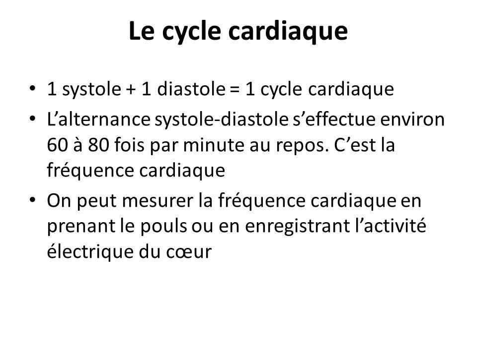 Le cycle cardiaque 1 systole + 1 diastole = 1 cycle cardiaque